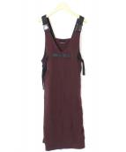 AULA(アウラ)の古着「ダブルクロスジャンパースカート」|パープル