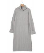 GALERIE VIE(ギャルリーヴィー)の古着「ウールカシミヤリブタートルネックワンピース」|ライトグレー