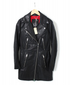 DIESEL(ディーゼル)の古着「レザーライダースコート」|ブラック