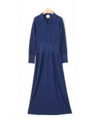 JUN MIKAMI(ジュンミカミ)の古着「ラメ鹿の子ワンピース」|ブルー