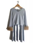 LAISSE PASSE(レッセ・パッセ)の古着「袖ファーニットセットアップ」|ライトブルー