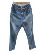 YANUK(ヤヌーク)の古着「LOUNGEデニム×ニット リラックスパンツ」|ブルー