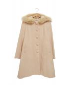 LAISSE PASSE(レッセパッセ)の古着「フォックスファー付アンゴラ混コート」|ピンク