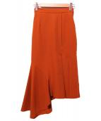 Ameri VINTAGE(アメリビンテージ)の古着「アシンメトリーフレアスカート」|ダークオレンジ