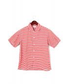 BUTCHER PRODUCTS(ブッチャープロダクツ)の古着「ボーダー半袖シャツ」|レッド