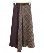 sophila(ソフィラ)の古着「チェックアシンメトリースカート」|ブラウン