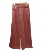 ALEXIA STAM(アリシアスタン)の古着「コーデュロイワイドパンツ」|ピンク