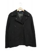 ALEXANDER WANG×H&M(アレキサンダーワン×エイチアンドエム)の古着「コラボメルトンダブルライダースジャケット」 ブラック