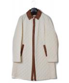Salvatore Ferragamo(サルヴァトーレ フェラガモ)の古着「キルティングコート」|アイボリー×キャメル