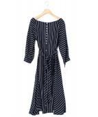 styling/ kei shirahata(スタイリング / ケイ シラハタ)の古着「リネンストライプワンピース」|ネイビー