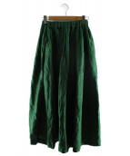 SACRA(サクラ)の古着「リネン混ギャザーロングスカート」|グリーン
