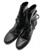 Pippichic(ピッピシック)の古着「フリンジショートブーツ」|ブラック