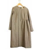nooy(ヌーイ)の古着「ブークレジャガードツイードベルワンピース」|アイボリー