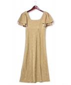 Rosary moon(ロザリームーン)の古着「バタフライエンブロイダリーワンピース」|イエロー