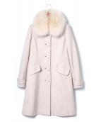 LAISSE PASSE(レッセ・パッセ)の古着「フォックスファー付アンゴラ混コート」|ピンク