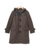 TOKYO DRESS(トウキョウドレス)の古着「レザーヨークダッフルコート」|カーキ