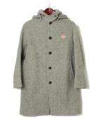 DANTON(ダントン)の古着「ウールモッサラウンドカラーフードコート」|グレー