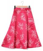 SNIDEL(スナイデル)の古着「ミモレフレアプリントスカート」|ピンク