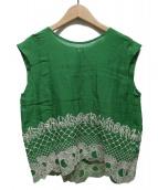 mina perhonen(ミナペルフォネン)の古着「ノースリーブブラウス」 グリーン