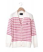 keisuke kanda(ケイスケカンダ)の古着「手刷りのボーダーカーディガン」|ピンク