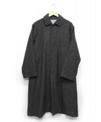quadro(クオドロ)の古着「ウールナイロンフラノステンカラーコート」 グレー