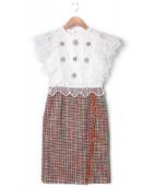 CHESTY(チェスティ)の古着「ビジューツイードワンピース」 マルチカラー