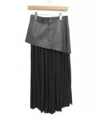 CELINE(セリーヌ)の古着「ラムレザースカート付きプリーツスカート」
