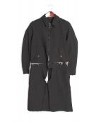 COMME des GARCONS HOMME(コムデギャルソンオム)の古着「ポリ縮絨ドッキングコート」|ブラック