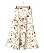 BALLSEY(ボールジー)の古着「フラワーPTダブルタックフレアスカート」|オフホワイト