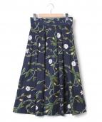 BALLSEY(ボールジー)の古着「フラワーPTダブルタックフレアスカート」