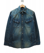 nano・universe×西川ダウン(ナノユニバース×西川ダウン)の古着「シャツジャケット」|ブルー