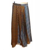 COLLAGE(コラージュ)の古着「プリント切替ロングスカート」|オレンジ