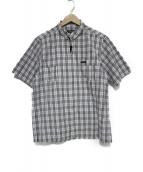 BURBERRY BLACK LABEL(バーバリーブラックレーベル)の古着「チェック半袖ジップシャツ トップス」 ホワイト