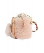 MUKU(ムク)の古着「ムートン×ニットバケツショルダーバッグ」|ピンク