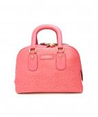 J&M Davidson(ジェイアンドエムデビットソン)の古着「オーストリッチ型押しハンドバッグ」|ピンク