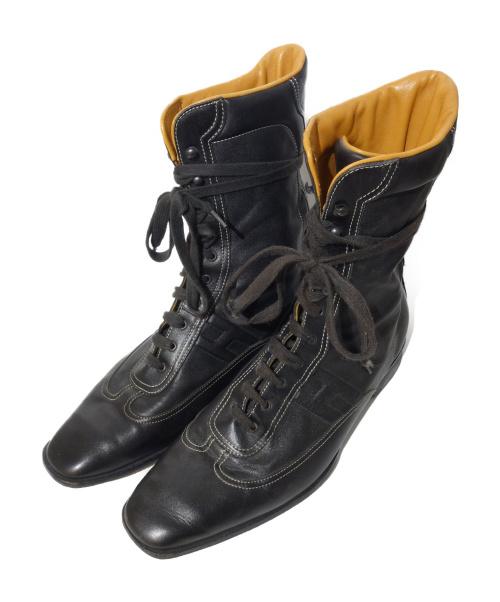 HERMES(エルメス)HERMES (エルメス) クイックレザーハイカットスニーカー ブラック サイズ:41 1/2の古着・服飾アイテム