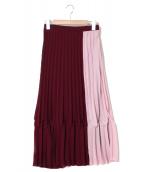 QUEENS COURT(クイーンズコート)の古着「配色プリーツスカート」|ボルドー