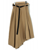 AULA(アウラ)の古着「コットンツイルラップスカート」|ベージュ