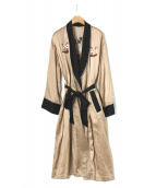 G.V.G.V.(ジーブイジーブイ)の古着「フローラル刺繍ローブコート」 ベージュ