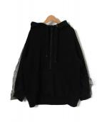 AULA(アウラ)の古着「チュール袖プルオーバーパーカー」|ブラック