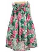 GRACE CONTINENTAL(グレースコンチネンタル)の古着「ハイビスカスジャガードスカート」|ピンク