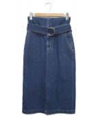 CURRENTAGE(カレンテージ)の古着「ハイウエストデニムタイトスカート」|ブルー