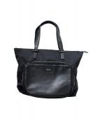 agnes b voyage(アニエスベーボヤージュ)の古着「ナイロンレザートートバッグ」|ブラック