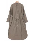 Traditional Weatherwear(トラディショナルウェザーウェア)の古着「ノーカラーシャツワンピース」|オリーブ