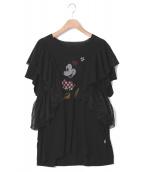 Little sunny bite(リトルサニーバイト)の古着「ミニーマウスラッフルTワンピース」|ブラック