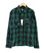 MOMOTARO JEANS(モモタロー ジーンズ)の古着「エルボーパッチチェックシャツ」|グリーン×ブラック