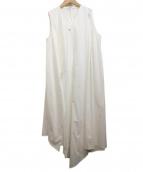 ENFOLD(エンフォルド)の古着「アシメノースリーブワンピース」|ホワイト