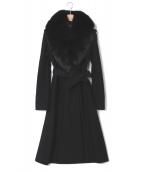 DIANE VON FURSTENBERG(ダイアンフォンファステンバーグ)の古着「ファー付コート」|ブラック