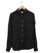 ANGLAIS(アングレー)の古着「リネン長袖ドレスシャツ」|ブラック
