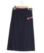 ROBE DE CHAMBRE COMME DES GARCONS(ローブ ド シャンブル コムデ ギャルソン)の古着「ロングタックベルトスカート」|ネイビー